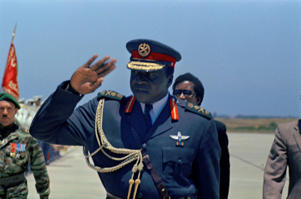 President of Uganda Idi Amin Dada arrives at Rabat, Morocco for the African Summit conference, June 12, 1972.