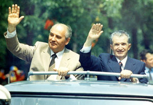 Soviet leader Mikhail Gorbachev, left, and Romanian president Nicolae Ceausescu in Bucharest, May 25, 1987.