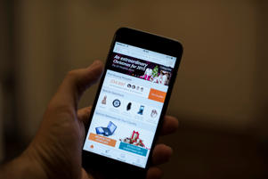 Alibaba's shopping app on an Apple Inc. iPhone 6 smartphone