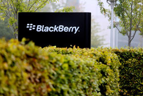 A logo stands on display outside the BlackBerry Ltd. headquarters in Slough, U.K., on Tuesday, Sept. 24, 2013.