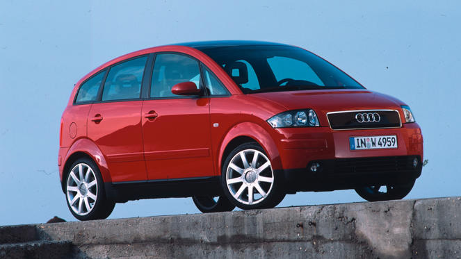 Even today, the Audi A2 looks like a futuristic city car, but its styling tells only half the story. The aluminium construction meant it was super-light, giving it eco credentials well ahead of its time. The front of the A2 featured a 'service hatch', giving easy access to the oil, screen wash and dipstick.