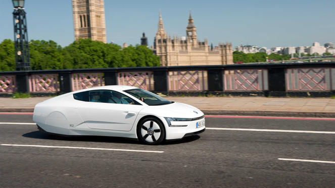 Designed to consume one litre of fuel per 100km - the equivalent of 282mpg - the Volkswagen XL1 is a striking vision of the future. The XL1 weighs a feather-light 795kg and can travel up to 50 miles on battery power. Yours for a mere £100,000…