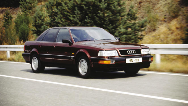Despite looking like an Audi 200, the Audi V8 featured unique panels and a host of detail changes. Its 3.6-litre 32-valve V8 engine was formed by fusing two 1.8-litre Golf GTI engines together, giving the car a 0-62mph time of 7.6 seconds. Although not a big seller, it paved the way for the Audi A8.
