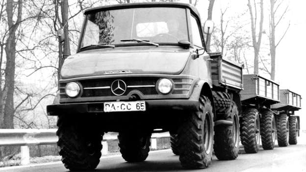 No, the Unimog is not a car, but we simply have to include it. Unimog is an acronym for UNIversal-MOtor-Gerät, with Daimler Benz taking over production in 1951. It's the Swiss Army Knife of trucks.