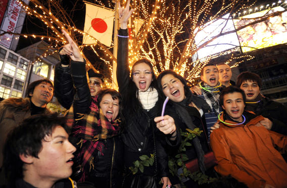 JAPAN - CIRCA 2010: Youth japanese celebrates New Year's Eve in Shibuya district in Tokyo in Tokyo, Japan on January 01st , 2010. (Photo by Guy DURAND/Gamma-Rapho via Getty Images)