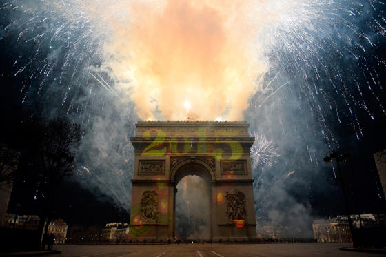 PARIS, FRANCE - DECEMBER 31: A general view of the Arc de Triomphe during the New Year's Celebration on the Champs-Elysees on December 31, 2014 in Paris, France. (Photo by Aurelien Meunier/Getty Images)