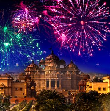 Festive firework over temple Akshardham, India. Delhi.