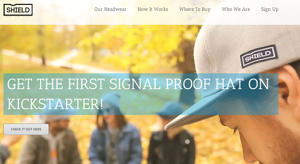 Screengrab of Shield Apparel company website featuring 'signal proof' hats.