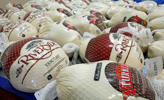 Turkeys for Thanksgiving meals are pictured.