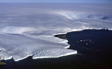 A portion of the East Antarctic Ice Sheet, called Wilkes Land, flowing into the ocean.