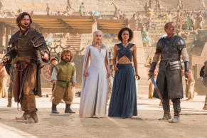 "Michiel Huisman, from left, Peter Dinklage, Emilia Clarke, Nathalie Emmanuel, and Iain Glen, in a scene from ""Game of Thrones,"" season 5."