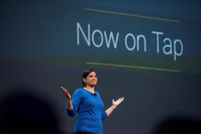 Aparna Chennapragada, director of Google Now for Google Inc., speaks during the Google I/O Annual Developers Conference in San Francisco, California, U.S., on Thursday, May 28, 2015.