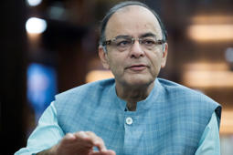 File: Arun Jaitley, India's finance minister, speaks during an interview at his office in the North Block of the Central Secretariat building in New Delhi, India, on Monday, Nov. 2, 2015. Jaitley is open to meeting top opposition leaders, including Rahul Gandhi, to resolve a parliamentary deadlock over sales tax reforms.