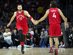 Toronto Raptors forward Luis Scola (4) and Jonas Valanciunas (17).