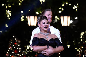Bindi Irwin and Derek Hough on stage at ABC's 'Dancing With The Stars' Live Finale at The Grove on November 24, 2015 in Los Angeles, California