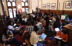 Around 30 students sit in in front of the office of John J. DeGioia, president of Georgetown University in Washington on Nov. 13, 2015. The sit in was in solidarity with other student protests throughout the country addressing racial discrimination on campus, including at University of Missouri and Yale University.