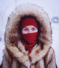 Husky-eyed local girl returning home from university. While the majority of Yakutsk's population are indigenous Yakutian, many ethnic Russians and Ukrainians moved to Yakutsk in soviet times, lured by high wages for working in the harsh climate.