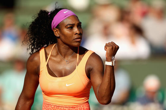 Slide 2 of 35: PARIS, FRANCE - JUNE 04: Serena Williams of the United States celebrates a point during her Women's Semi final match against Timea Bacsinszky of Switzerland on day twelve of the 2015 French Open at Roland Garros on June 4, 2015 in Paris, France.