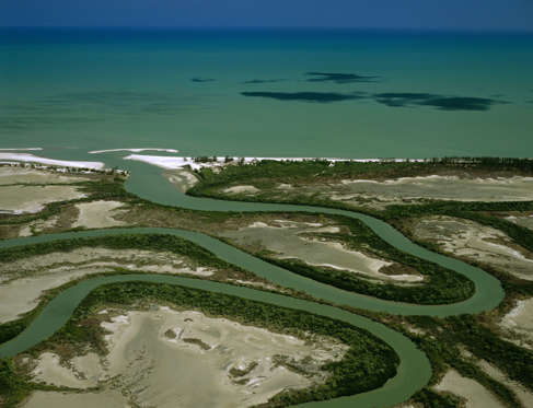 Duck Creek, aerial with ox-bows and mangrove-lined river banks. Gulf of Carpentaria, Cape York Peninsula, Queensland, Australia.