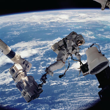 NASA 50 years of spacesuits The primary payloads of Space Shuttle Mission STS-112 to the International Space Station (ISS) were the S1 integrated truss segment (constructed at the Marshall Center) and the Crew and Equipment Translation Aid (CETA) Cart