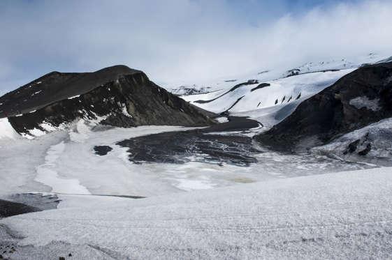 Volcano crater at Deception Island, South Shetland Islands, Antarctica
