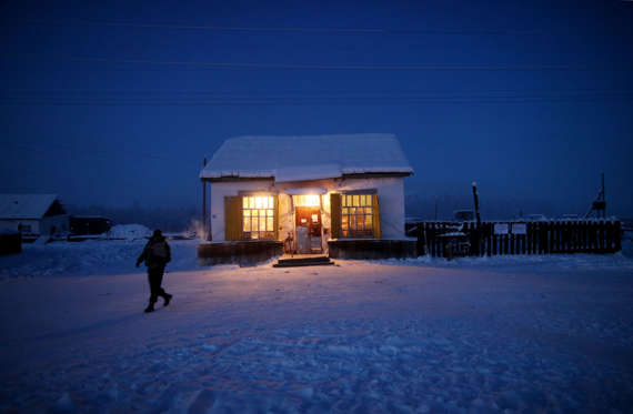 Village of Oymyakon, which is considered to be the coldest permanently inhabited settlement in the world, Russia - Jan 2013 Oymyakon's only shop