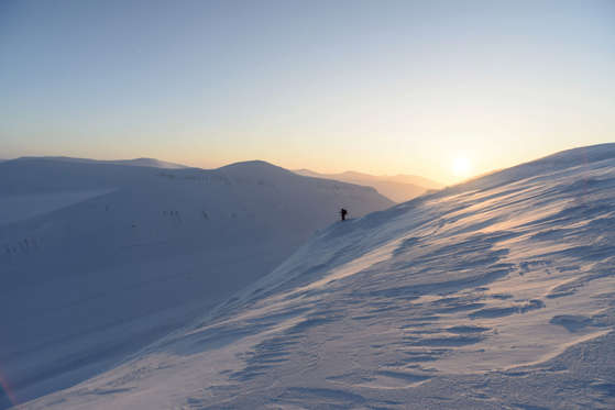 Ski mountaineers looking for the right descent in the first morning light, Longyearbreen and Lars Hiertafjellet behind, Longyearbyen, Svalbard, Norway