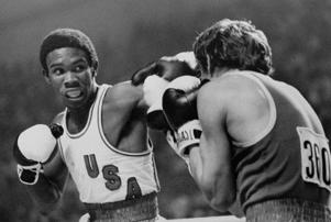 U.S.A. boxer Howard Davis slugs it out with Yugoslavian Ace Rusevski in lightweight boxing action at the Montreal Olympics Thursday, July 29, 1976.  Davis was the winner.