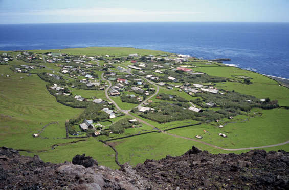 VARIOUS The settlement from the 1961 volcanic cone, with the ocean in the background, Edinburgh, Tristan da Cunha, Mid Atlantic