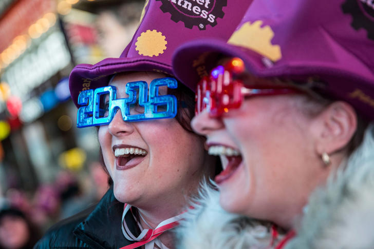 Women take a selfie to celebrate ringing in the new year in Times Square on January 1, 2016 in New York City. The New York City Police Department deployed more than 6,000 officers in the Times Square area, including more than 1,100 officers who graduated from the police academy on Tuesday.