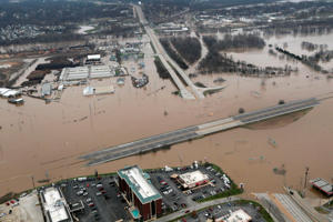 An aerial view from a Missouri National Guard UH-60 Black Hawk helicopter shows the effects of flooding in Pacific, Missouri