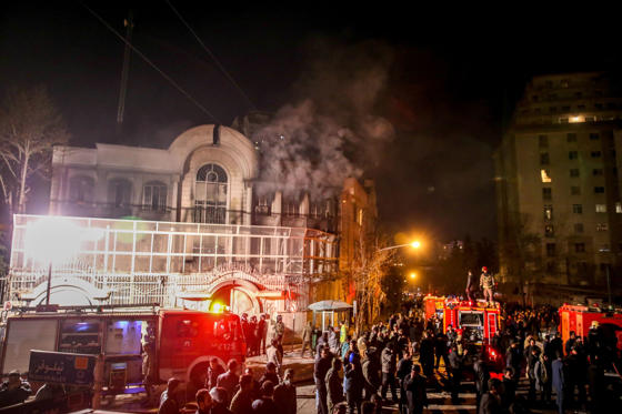 Iranian protesters set fire to the Saudi Embassy in Tehran during a demonstration against the execution of prominent Shiite Muslim cleric Nimr al-Nimr by Saudi authorities, on January 2, 2016.