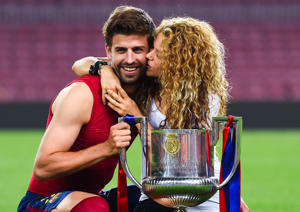 BARCELONA, SPAIN - MAY 30: Gerard Pique of FC Barcelona and Shakira pose with the trophy after FC Barcelona won the Copa del Rey Final match against Athletic Club at Camp Nou on May 30, 2015 in Barcelona, Spain. (Photo by David Ramos/Getty Images)