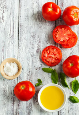 "<p>Tomatoes aren't just the <a href=""http://www.redbookmag.com/body/healthy-eating/advice/g769/salad-for-dinner/"">perfect salad addition</a>—they're also packed with lycopene, the same <a href=""http://www.redbookmag.com/beauty/makeup-skincare/advice/g1776/good-skin-foods/?slide=1"">skin-protecting carotene pigment</a> that's found in watermelon. So yes, your nightly caprese could serve as defense against harmful UV rays.</p>"