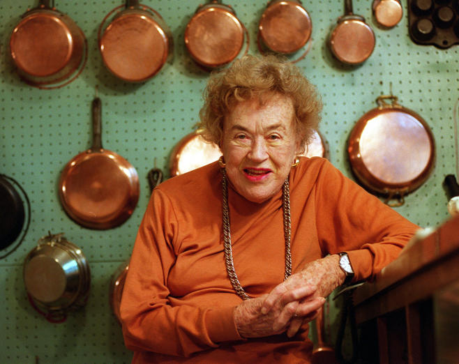 CAMBRIDGE, MA - SEPTEMBER 17: French chef Julia Child, seen in her famous kitchen in Cambridge, Mass., will be moving to California. (Photo by Justine Ellement/The Boston Globe via Getty Images)