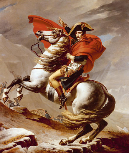 ITALY - CIRCA 2002: Bonaparte crossing the St Bernard Pass, May 1800, 1801 painting by Jacques-Louis David (1748-1825), oil on canvas, 264x231 cm. French Revolutionary Wars, Italy-Switzerland, 18th century. (Photo by DeAgostini/Getty Images)