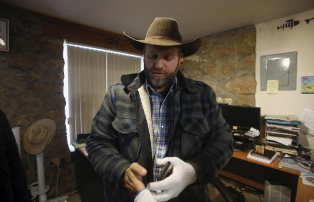 Ammon Bundy is seen in an office at the Malheur National Wildlife Refuge near Burns, Oregon, January 9, 2016.