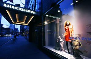A mannequin wears Sonia Rykiel fashions in a Bloomingdales store window Wednesday, July 19, 2006 in New York.