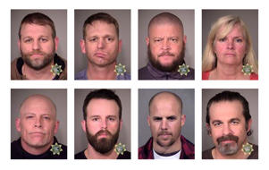 This combination of photos provided by the Multnomah County Sheriff's Office and the Maricopa County Sheriff's Office shows eight people involved in the occupation of the headquarters of the Malheur National Wildlife Refuge in Oregon on Jan. 2, 2016, who were arrested on Tuesday, Jan. 26, 2016. Top row from left are Ammon Bundy, Ryan Bundy, Brian Cavalier and Shawna Cox. Bottom row from left are Joseph Donald O'Shaughnessy, Ryan Payne, Jon Eric Ritzheimer and Peter Santilli.