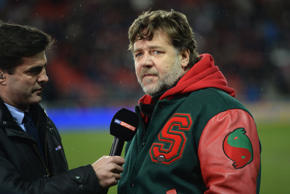 Actor and co-owner of South Sydney Rabbitohs Russell Crowe is interviewed prior ...