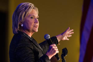 Former Secretary of State and Democratic presidential hopeful Hillary Clinton speaks at the 'First in the South' Dinner on January 16, 2016 in Charleston, South Carolina.