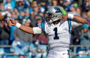 Cam Newton #1 of the Carolina Panthers indicates a first down against the Seattle Seahawks in the 2nd quarter during the NFC Divisional Playoff Game at Bank of America Stadium on January 17, 2016 in Charlotte, North Carolina.