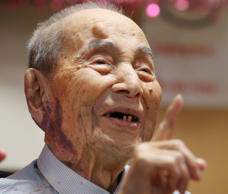 Yasutaro Koide, the 112-year-old living in the central Japanese city of Nagoya, ...