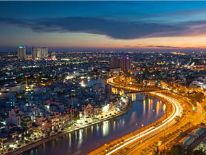 Visit the bustling scene of Ho Chi Minh City, Vietnam.