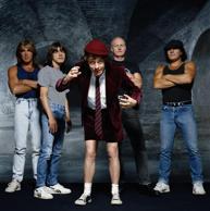 Australian hard rock group AC/DC, 1990. (Photo by Terry O'Neill/Getty Images)