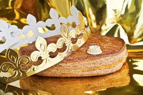 Galette des rois, french kingcake with a golden crown.
