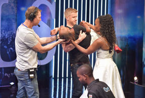 SA Idols judges Gareth Cliff and Unathi Msengana and the M-Net crew assist a con...