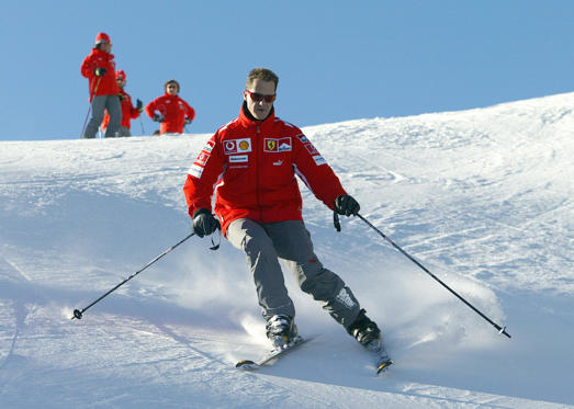 MADONNA DI CAMPIGLIO, ITALY: German Formula 1 driver Michael Schumacher skis in the winter resort of Madonna di Campiglio, in the Dolomites area, Northern Italy, 11 January 2005. Schumacher takes part in the traditionnal Ferrari winter meeting with the press. AFP PHOTO / Press Ferrari (Photo credit should read STR/AFP/Getty Images)