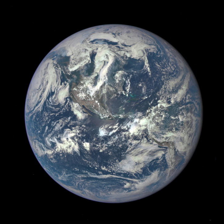 In this handout provided by the National Aeronautics and Space Administration, Earth as seen from a distance of one million miles by a NASA scientific camera aboard the Deep Space Climate Observatory spacecraft on July 6, 2015.