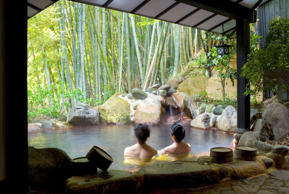 Women bathing at hot spring resort in Tokyo.